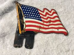 Vintage American Flag License Plate Topper - Distressed 48 Star Wwii Era Ww2