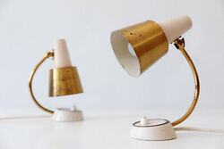 Set Of Two Mid Century Modern Brass Night Table Lamps Wall Lights 1950s Germany