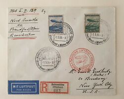 Germany 1936 Reich Zeppelin Hindenburg Registered Cover To New York