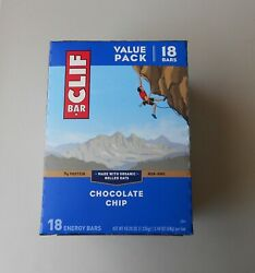 New Box Chocolate Chip Clif 18 Energy Bar Value Pack Organic Rolled Oats Vegan