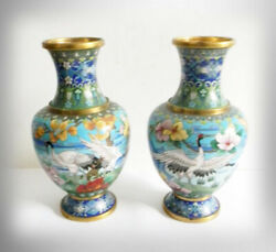 Cloisonnandeacute Pair Of Brass Vases - Cranes And Herons With Floral