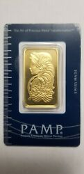 1 Ounce Pamp Suisse .9999 Fine Gold Bar Lady Fortuna 1oz.
