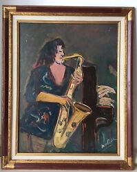 Roland Dubuc School Of Paris French Expressionism Oil Painting The Musicians