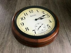 Beautiful 16quot; Bulova Wall Clock **Cosmetic Blemish**Seconds hand not working**