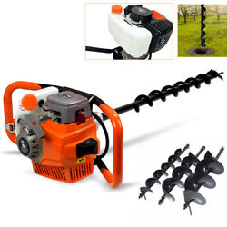 71cc Gas Powered Earth Auger Post Hole Digger Fence Borer W/ 3 Drill Bits 3.2kw