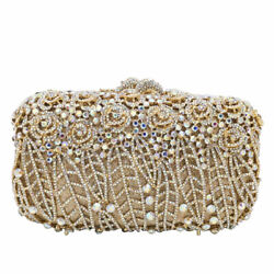Women Flower Evening Bags Crystal Clutch Minaudiere Wedding Handbags Party Purse $65.99