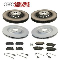 Genuine Front And Rear Disc Brake Rotors And Padsand Sensors Kit For Audi Q7 17-19