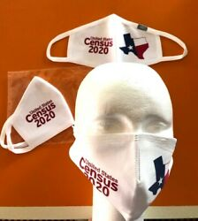 Face Mask Soft White Polyester Multi Layer Washable Reusable 2020Census Texas  $14.00