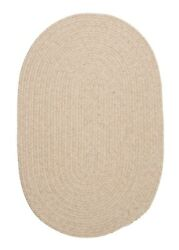 Bristol Heathered Natural Wool Blend Country Farmhouse Oval Round Braided Rug