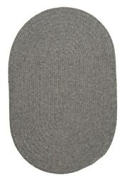 Bristol Heathered Gray Wool Blend Country Farmhouse Oval Round Braided Rug