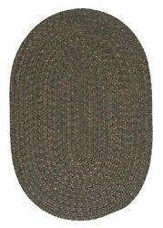 Hayward Heathered Olive Wool Blend Country Farmhouse Oval Round Braided Rug