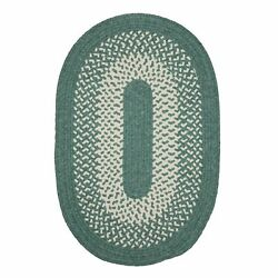 Jackson Teal Ivory Bordered Wool Blend Country Farmhouse Oval Round Braided Rug