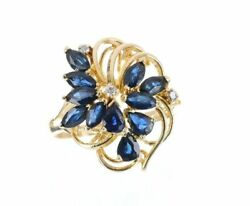1.08tcw Blue Sapphire And Diamond Vintage Cocktail Ring In Yellow Gold 14k