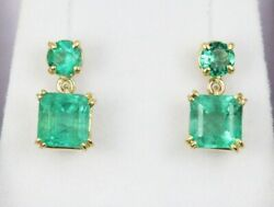 3.20tcw Round And Emerald Cut Colombian Emerald Stud Dangle Earrings In Gold 14k
