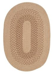 Jackson Oatmeal Bordered Wool Blend Country Farmhouse Oval Round Braided Rug