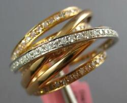 Estate Large 1.10ct White And Pink Diamond 18kt White And Rose Gold Multi Row Ring