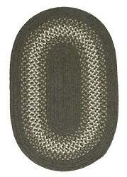 North Ridge Olive Green Bordered Wool Blend Country Farmhouse Oval Braided Rug