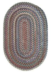 Oak Harbour Dusk Multi Variegated Wool Country Farmhouse Oval Braided Rug