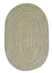 Tremont Palm Green Tweed Wool Blend Country Farmhouse Oval Round Braided Rug