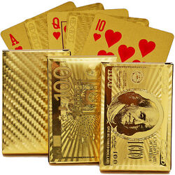 Gold Foil Art Poker Plated Playing Cards Us Dollar 5 Sets Lot Wholesale