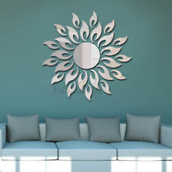 4PCS 3D DIY Mirror Sun Flower Totem Removable Wall Sticker Decal Home Room Xmas