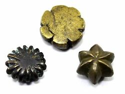 Lot Of 3 Unique Shape Bell Metal Bronze Weights Scales Collectibles. G15-141