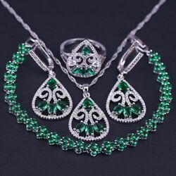 Green Emerald Unique Style 925 Silver Jewelry Set For Special Occasion Women