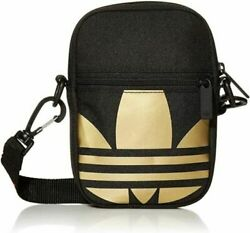 Adidas Trefoil Crossbody Festival Bag Black and Gold FT8918 $21.50
