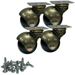 2 Inch Antique Gold Ball Plate Mounted Casters [screws Included] - Set Of 4
