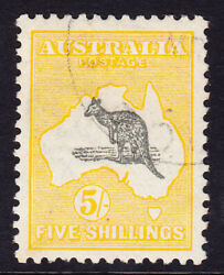 Sh 222 Melb Cto 3rd Watermark 5/- No Gum Scarce Stamp Usually Os Perf