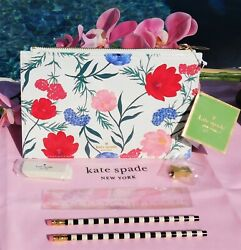 🌸 NWT Kate Spade Blossom Pencil Pouch Cosmetic Makeup Clutch Flowers Pink New $19.99