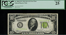 1934 10 Federal Reserve Note Fr-2004-e - Light Green Seal Star Note - Pcgs 25
