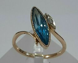 Ring Large Russian Jewelry Gold 14k 585 S-16.5 Topaz And Cubic Zirconia 478
