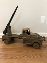 Antique Noma Woody Wooden Wwii Army Rocket Launcher Toy Truck Original Condition