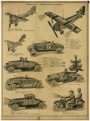 1930 Paper Ad Toys Mechanical Tin Toy Airplane Race Car Motorcycle Gas Station +