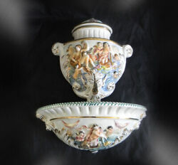 Capodimonte Large 3 Piece Figural Water Wall Mounted Font - With Brass Spigot