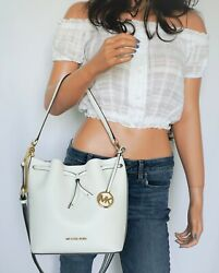 MICHAEL KORS EDEN MEDIUM BUCKET LEATHER SHOULDER SHOULDER BAG OPTIC WHITE GOLD $124.88