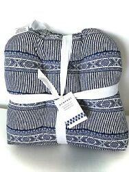 """Outdoor Patio Chair Cushions Set Of 4 Navy Tribal Pattern 19""""x19"""""""