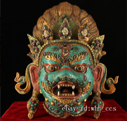China Antique Tibet Temple Pure Copper And Gemstone Painted Gold Mahakala Mask