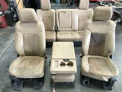 2011-2016 Ford F350 F250 Seat Set Rear Seat Console Heat Cool Power Tan Leather
