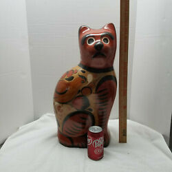Tonala Mexico Pottery Vintage Giant Cat Stands 21 Tall Unsigned