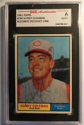 1961 Topps Gordy Coleman Signed Sgc Authentic