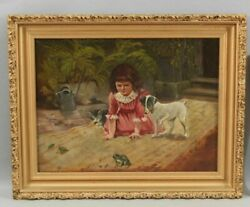 Antique Victorian-period Genre Oil Painting Is In Good Unrestored Condition