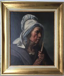 19th Century Antique Oil Paiinting Portrait Of A Woman