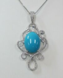 Turquoise Diamond 18k White Gold Pendant And Chain