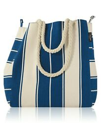 New Lancome Blue and White Striped Canvas Summer Tote Large Beach Bag $7.98