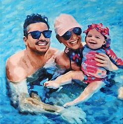 Custom Birthday Gift Commission Family Canvas Oil Portrait Painting From Photo