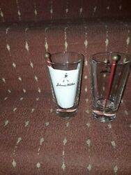 Pair Of Johnnie Walker Scottish Whiskey Glasses With Walking Stick Stirs