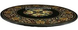 50 Black Marble Round Conference Table Top Pitradura Inlay Floral Art Furniture