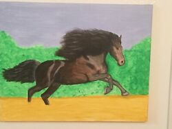 Original Signed Painting Wild Stallion By Dr. Pvh